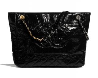 Chanel Shiny Aged Calfskin, Gold, Silver-Tone & Ruthenium Shopper Tote