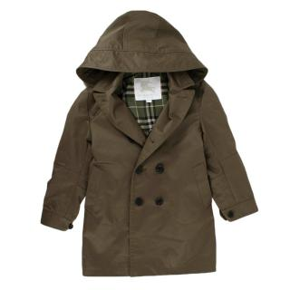 Burberry Kids 7Y Khaki Double Breasted Hooded Trench Coat