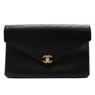 Chanel Black Leather Chevron Stitch CC Envelope Pouch
