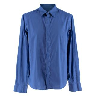 Alexander McQueen Blue Cotton Long Sleeve Shirt