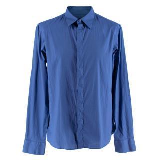 Alexander McQueen Blue Cotton Long Sleeve Shirt