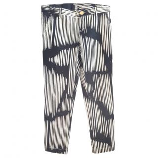 Gucci Black & White Striped Jeans