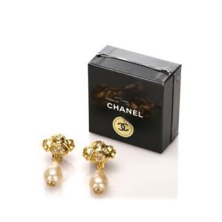 Chanel Faux Pearl Drop Earrings