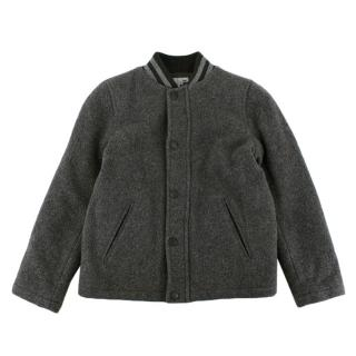Bonpoint Grey Wool Bomber Jacket