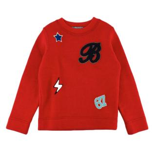 Bonpoint Red Wool Patches Knit Sweater