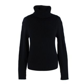 Yves Saint Laurent Black Wool Ribbed Turtleneck Sweater
