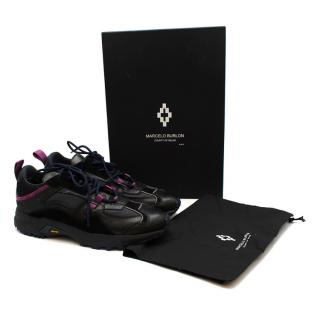 Marcello Burlon Panelled leather and suede Vibram trainers