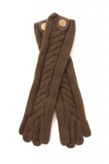 Guci Brown Cashmere Cable Knit Gloves
