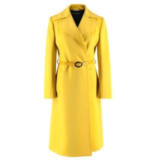Dolce & Gabbana Yellow Belted Virgin Wool & Cashmere Coat