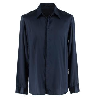 Emanuel Ungaro Blue Silk Shirt