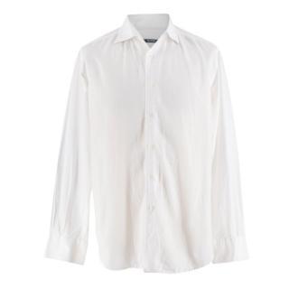 Pal Zileri White Cotton Linen Blend Shirt