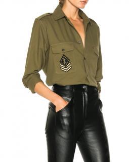 Saint Laurent Oversized khaki twill military shirt
