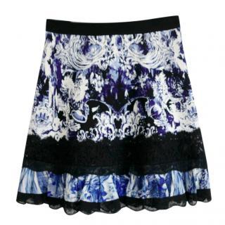 Roberto Cavalli blue flora skirt