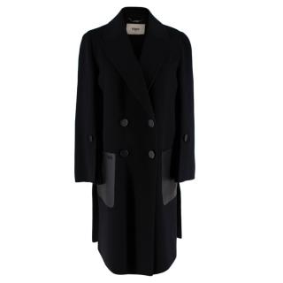 Fendi Black Wool Blend Buttoned Overcoat with leather pockets