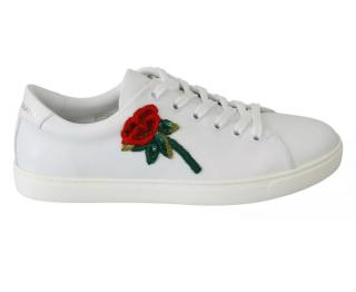 Dolce & Gabbana red rose and heart sequinned white trainers