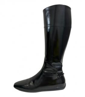 Gucci Black Patent Leather Horsebit Flat Boots