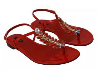 Dolce & Gabbana Red Crystal Embellished Thong Sandals