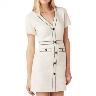 Maje Beige Tweed Dress with Contrast Trim