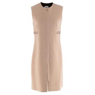 Hermes Cashmere Beige Zip Front Sleeveless Dress