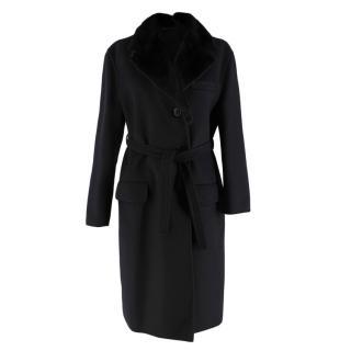 Prada Black Wool Cashmere & Angora Blend Mink Fur Collar Coat