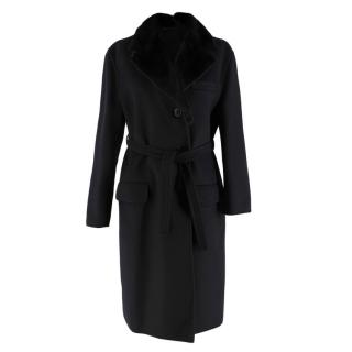 Prada Black Wool Cashmere & Angora Blend Mink Fur Collar Coat