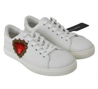 Dolce & Gabbana White Leather Heart Patch Sneakers
