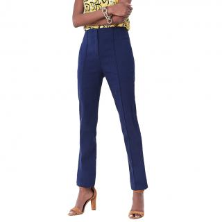 DVF Blue Tailored Linen Trousers