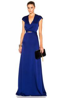 Victoria Beckham Tie-front Cap-sleeve V-neck Gown