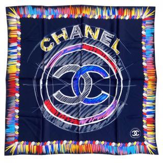 Chanel multi coloured  silk square scarf