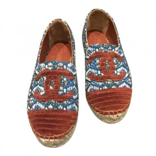 Chanel fabric CC espadrilles