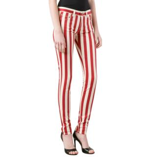 Saint Laurent Red & White Striped jeans