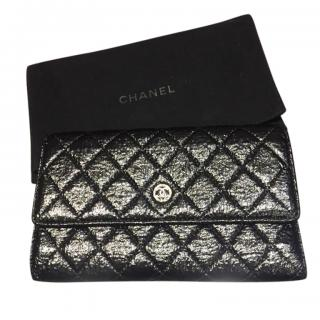 Chanel Black Iridescent Aged Leather Flap Wallet