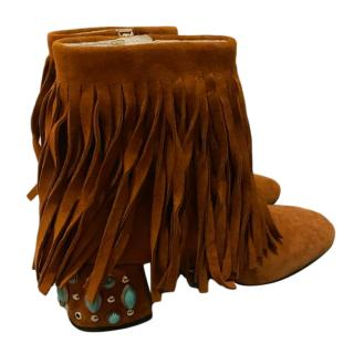 Prada Tan Fringed Suede Studded Heel Ankle Boots