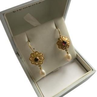 Bespoke Garnet & Freshwater Pearl Drop Earrings