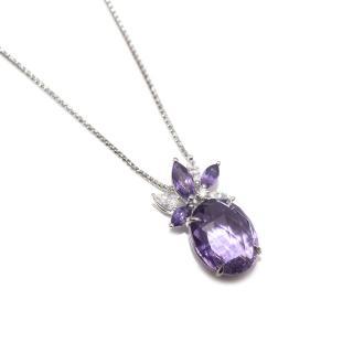 William & Son Amethyst & Diamond Ballet Collection Pendant Necklace