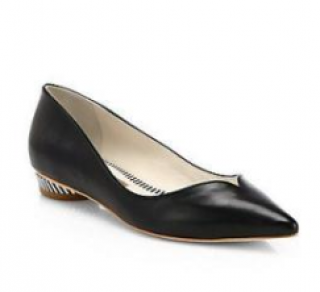 Sophia Webster Loca Leather Striped-Heel Skimmers