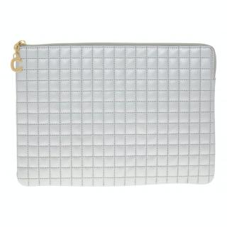 Celine Silver Quilted Leather C Pouch