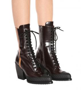 Chloe Glossy Brown Lace-Up Rylee Ankle Boots