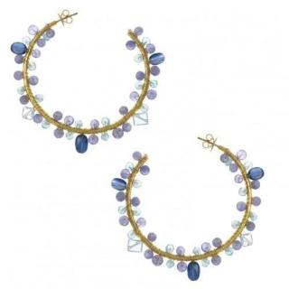 Salvatore Plata Tourmaline Gold Plated Hoop Earrings