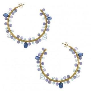 Salvatore Plata Tourmaline Gold Plated Hoop Earrings