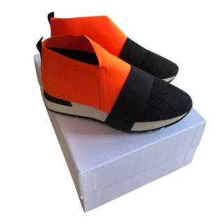 Balenciaga Neon Orange/Black Elastic Strap Sneakers