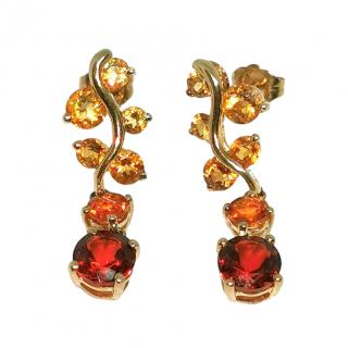 Bespoke citrine and garnet drop earrings
