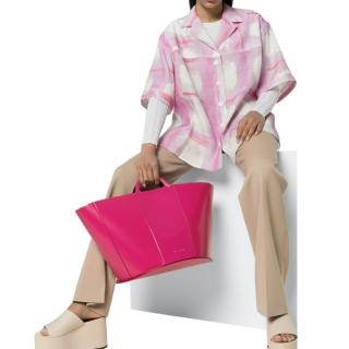Marni Pink Glossy Calfskin Tropicalia Tote Bag