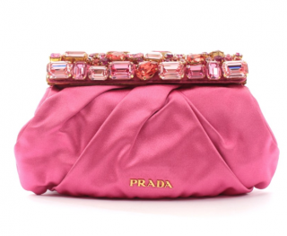 Prada pink crystal embellished satin clutch