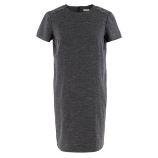 Brunello Cucinelli Grey Wool Jersey Short Sleeve Dress