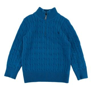 Polo Ralph Lauren Blue Cotton Cable Knit Jumper
