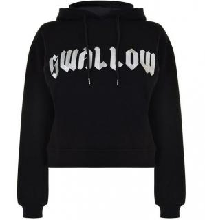 McQ Alexander McQueen Black Swallow Cropped Hooded Sweatshirt