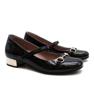 Gucci Black patent Leather Horse Bit Mary Jane Court Shoes