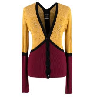 Jean Paul Gaultier Mustard & Burgundy Knit Cardigan