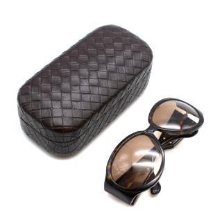 Bottega Veneta Brown Intrecciato Leather Tortoiseshell Sunglasses